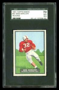 Rare-1951-Topps-Magic-37-Bob-Marlow-Football-Rookie-RC-Card-SGC-70-5-5-EX