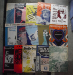 Lot-of-15-1930s-to-1960s-Era-Colorful-Sheet-Music-Booklets