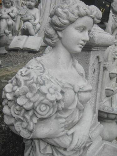 Frau Dame mit Blumenstrauß Statue Figur massiv 118 cm Gartenfigur frostsicher