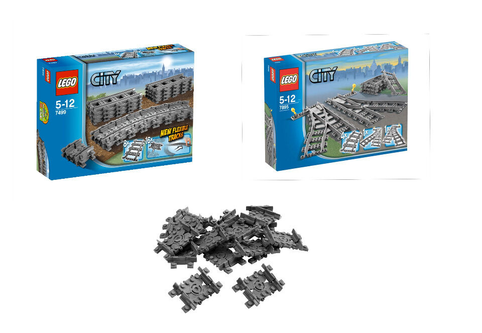 Lego City Chemin de Fer Set 7499 7895 Plus Très Lot 16 Flex Rails 7897 7938 7939