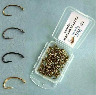 Royd: 100 BOXED FLY TYING HOOKS. BUZZER / NYMPH. Bronze,Black Nickel,Black,Gold.