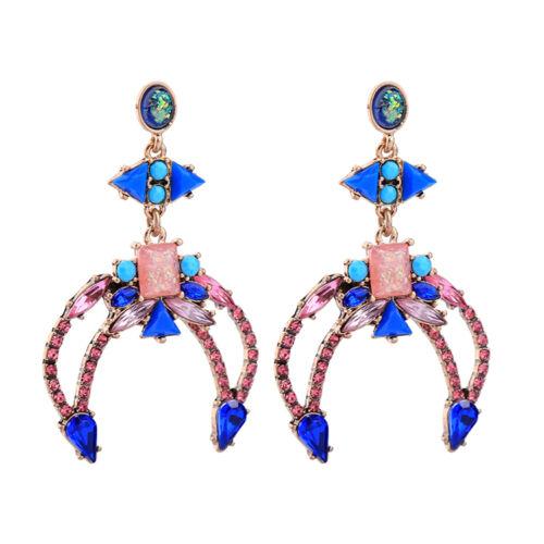 Ohrringe Mode Gestüt Silber Blau Grün Kristall Dreieck Anhänger Art Deco A1