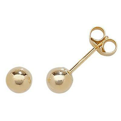 9ct Yellow Gold Ball Stud Earrings 5mm - New