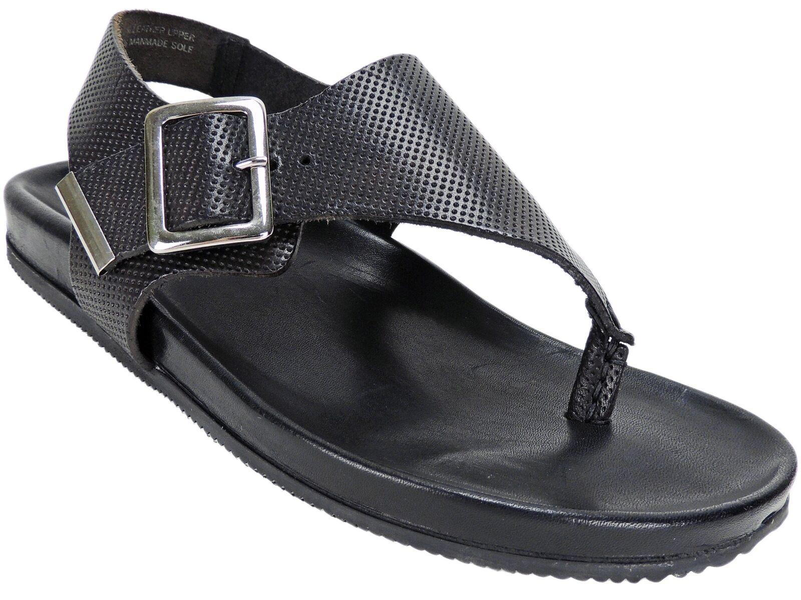 Emozioni Women's W1390 Thong Sandals Black Leather Size M; US 7.5 M