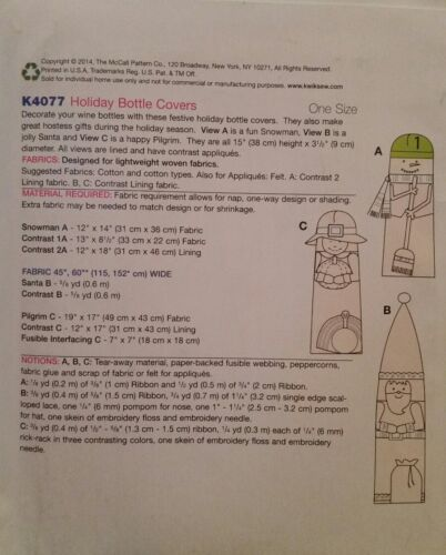 New Kwik Sew Crafts Sewing Pattern K4077 For Holiday Bottle Covers