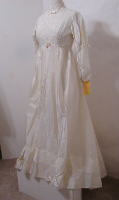 Vintage Wedding Gown Taffeta Silk Lace Trim High Neck Empire Waist S