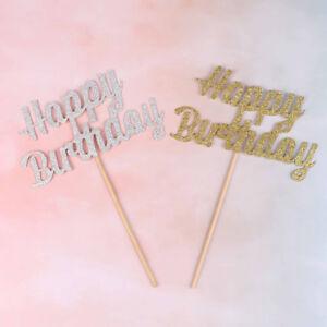 Or-argent-giltter-gateau-Topper-Party-fournisseur-joyeux-anniversaire-bougie