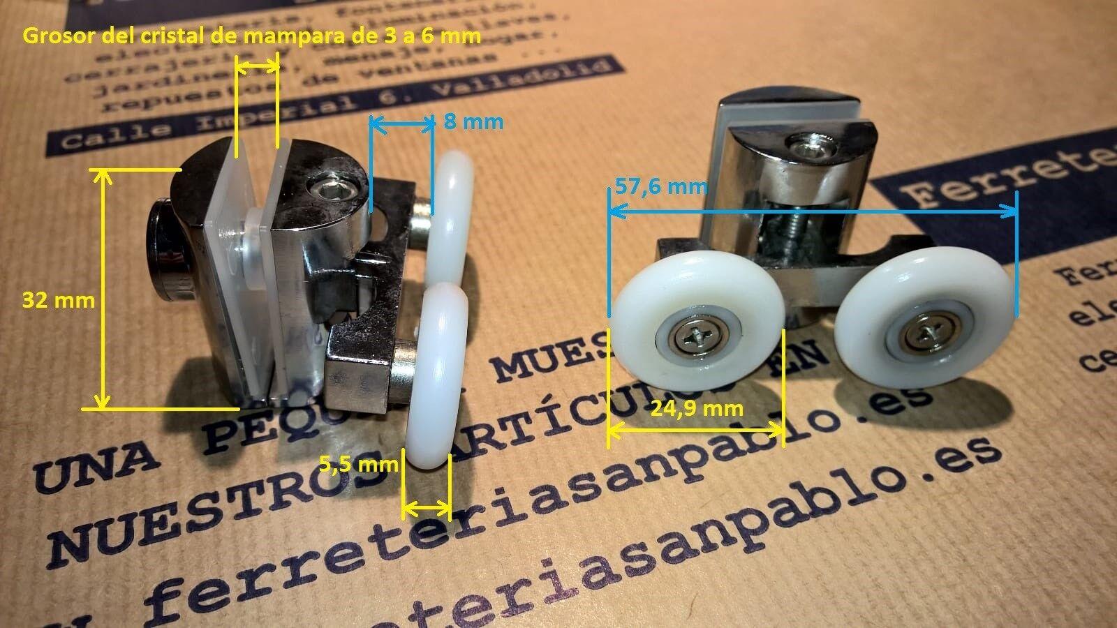 2 PATINES DE MAMPARA 25 25 25 mm co634722 (rodamientos para ventanas)rueda rodamiento 963444