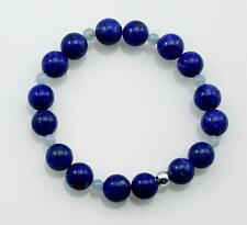 Lapislazuli Armband blaues  Buddha-Armband Lapis mit Aquamarin 18,5 cm