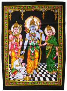 RAMA-SITA-LAKSHMAN-und-HANUMAN-Wandbehang-Stoffbild-Pailletten-Ramayana-Indien