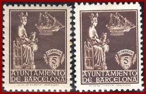 Spanien-Barcelona-1939-Ayuntamiento-de-Barcelona-5-Cts-2-postfr-Werte-MNH