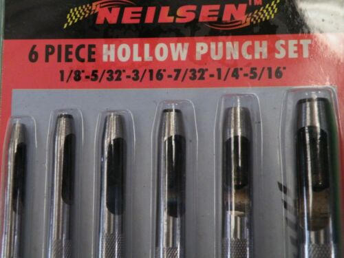 """6 pc Hollow Punch Set making Gasket Washer in many materials 1//8/""""-5//16/"""" 1538 322"""