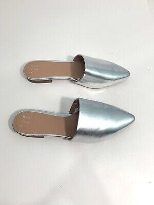 Women's a new day Metallic Silver Junebug Mules 8.5