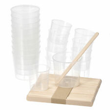 20 Pack 60ml 30ml Pp Plastic Graduated Beaker Clear With Wooden Stirring Sticks