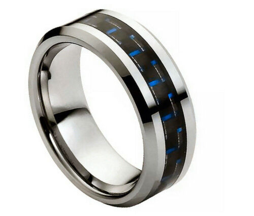 8mm Men /& Ladies Tungsten Carbide Blue Carbon Fiber Inlay Wedding Band Ring