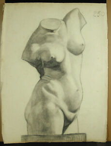 Drawing Original Sculpture Greco-Roman Art Study Ap the Ancient Bust Naked Woman