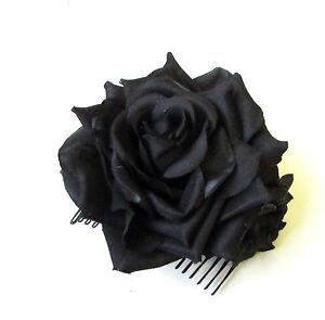 Schwarze Rose Blumen Haar Kamm Fascinator Blumenmuster Kopfbedeckung