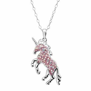 Crystaluxe Magical Unicorn Pendant with Swarovski Crystals in Sterling Silver