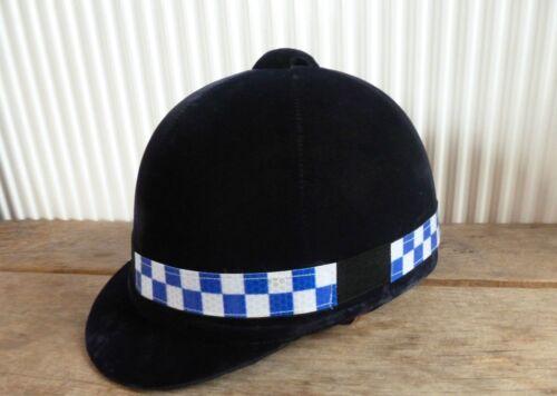 Bleu /& Argent Carreaux Hi Viz Réfléchissants Fluorescent Riding casque Hat Band NEUF