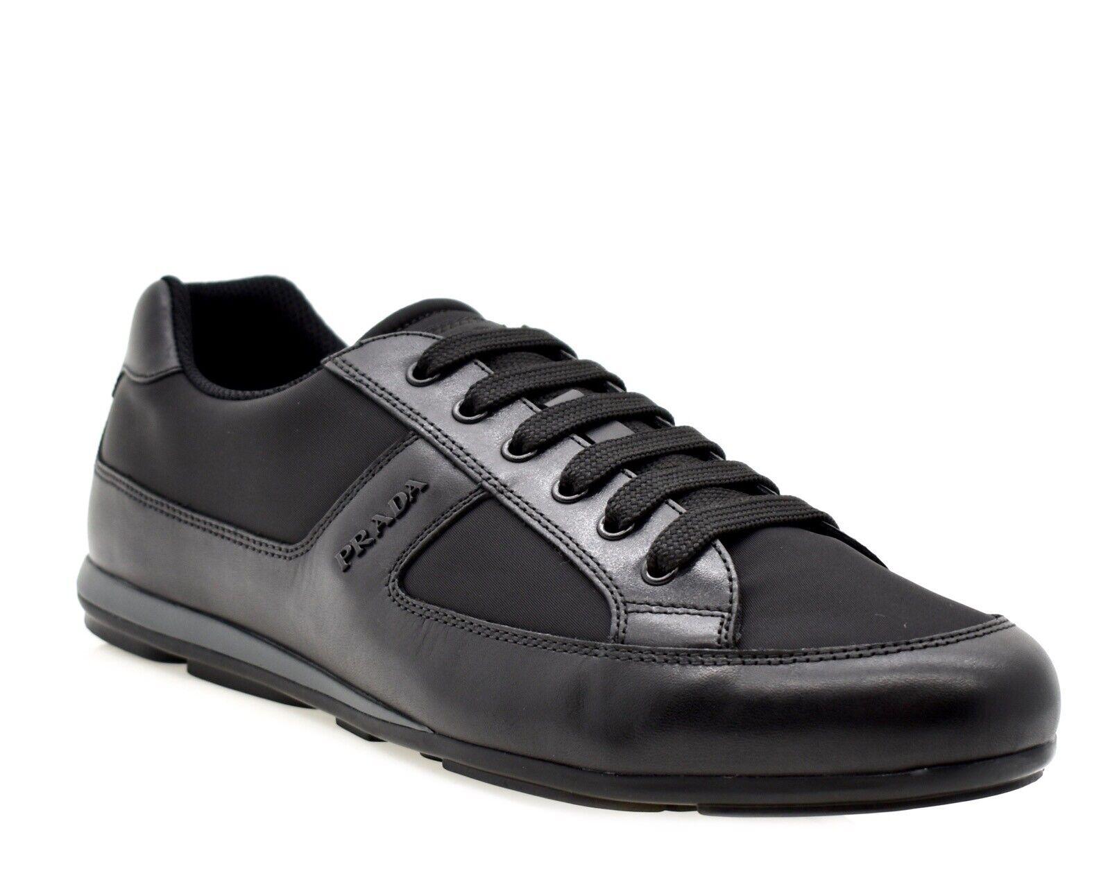 Prada Fashion Sneakers Black Nylon Size 12 New