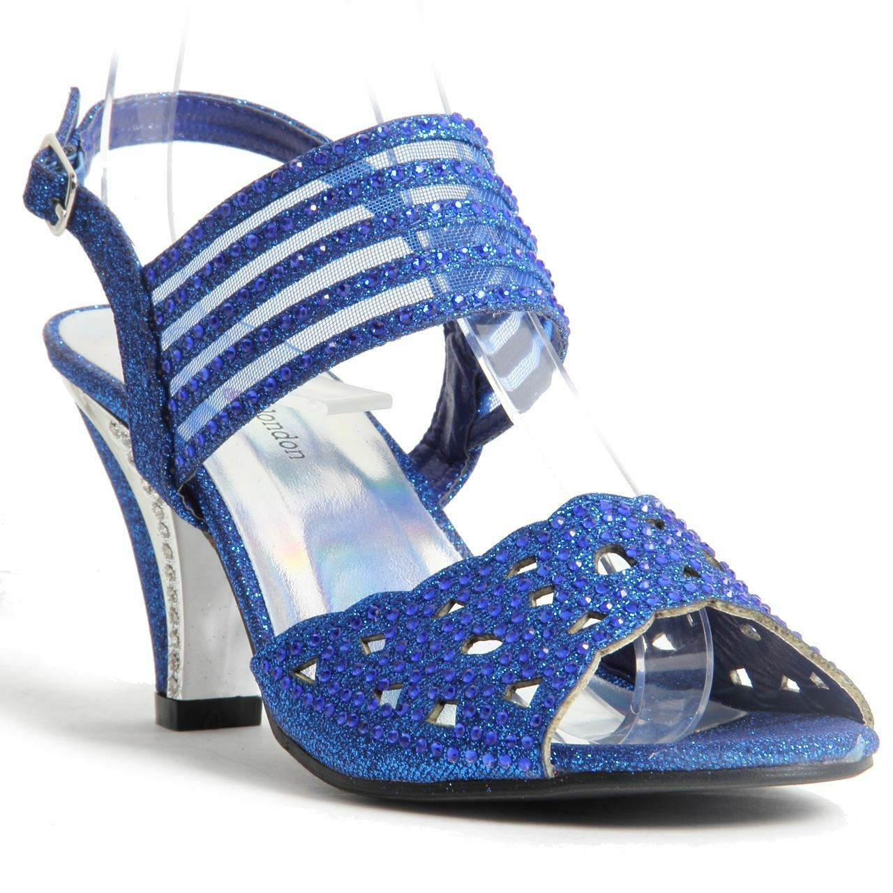 Womens Ladies Sparkling Diamante Block Heel Party Shoes Buckle Up Sandals Blue