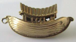 Vintage 9ct Oro Amarillo Esmaltada Noah's Ark encanto de apertura (8.2g)