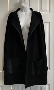 Chicos-black-jacket-with-faux-leather-trim-and-pockets-Size-3