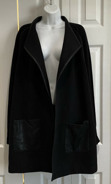 Chicos black jacket with faux leather trim and pockets Size 3