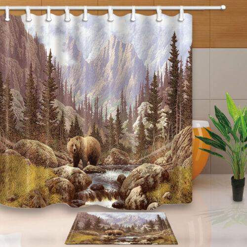 12 Hook 71*71in New Brown bear Bathroom Decor Shower Curtain Waterproof Fabric
