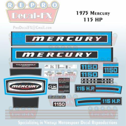 1975 Mercury 115 HP Outboard Reproduction  25 Piece Marine Vinyl Decals 1150