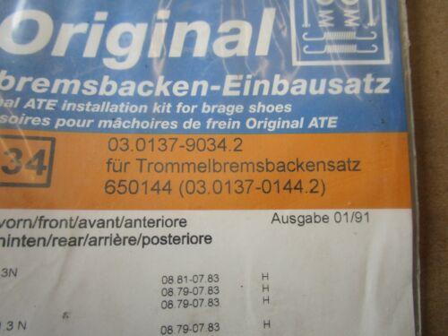 Opel Kadett D Ascona C 1.0-1.8 Einbausatz Bremsbacken Trommelbremse NEU ATE