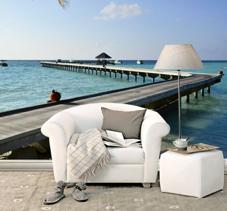 3D Seaside Promenade Wall Paper Wall Print Decal Wall Deco Indoor wall Murals