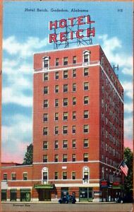 Image Is Loading 1940s Linen Postcard Hotel Reich Gadsden Alabama Al