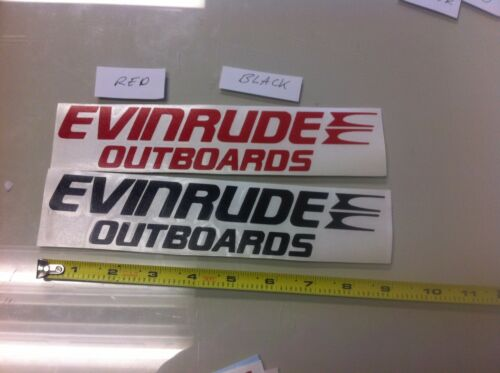 """Red vinyl sticker decal boat fishing trailer x2 Evinrude Outboards 9/"""" Black"""