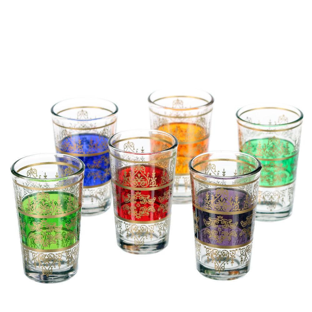 6 marokkanische TEEGLÄSER Orient orientalische Gläser Teeglas Tunis 4 Farben   Schönes Aussehen