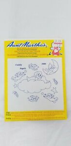 VINTAGE-Aunt-Martha-039-s-IRON-ON-Embroidery-TRANSFERS-Cuddly-Angels