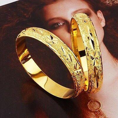 2pcs 18 yellow gold filled solid pattern woman man pattern bangles BN-A171-B