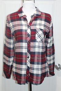 Rails-Flannel-Shirt-Womens-Red-Blue-White-Plaid-Long-Sleeve-Button-Front-Size-XS