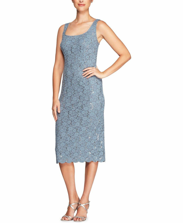 ALEX EVENINGS damen Blau SEQUINED LACE SLEEVELESS LACE MIDI DRESS Größe 8P