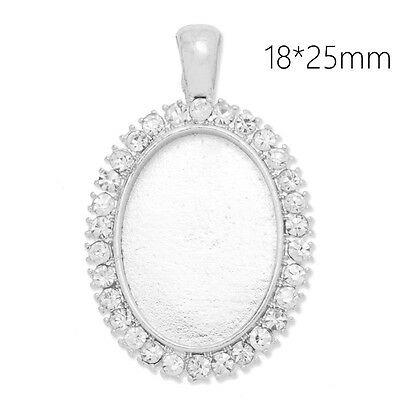 10Pcs 18*25MM Oval Cameo Cabochon Blank Base Pendant Trays with Rhinestone
