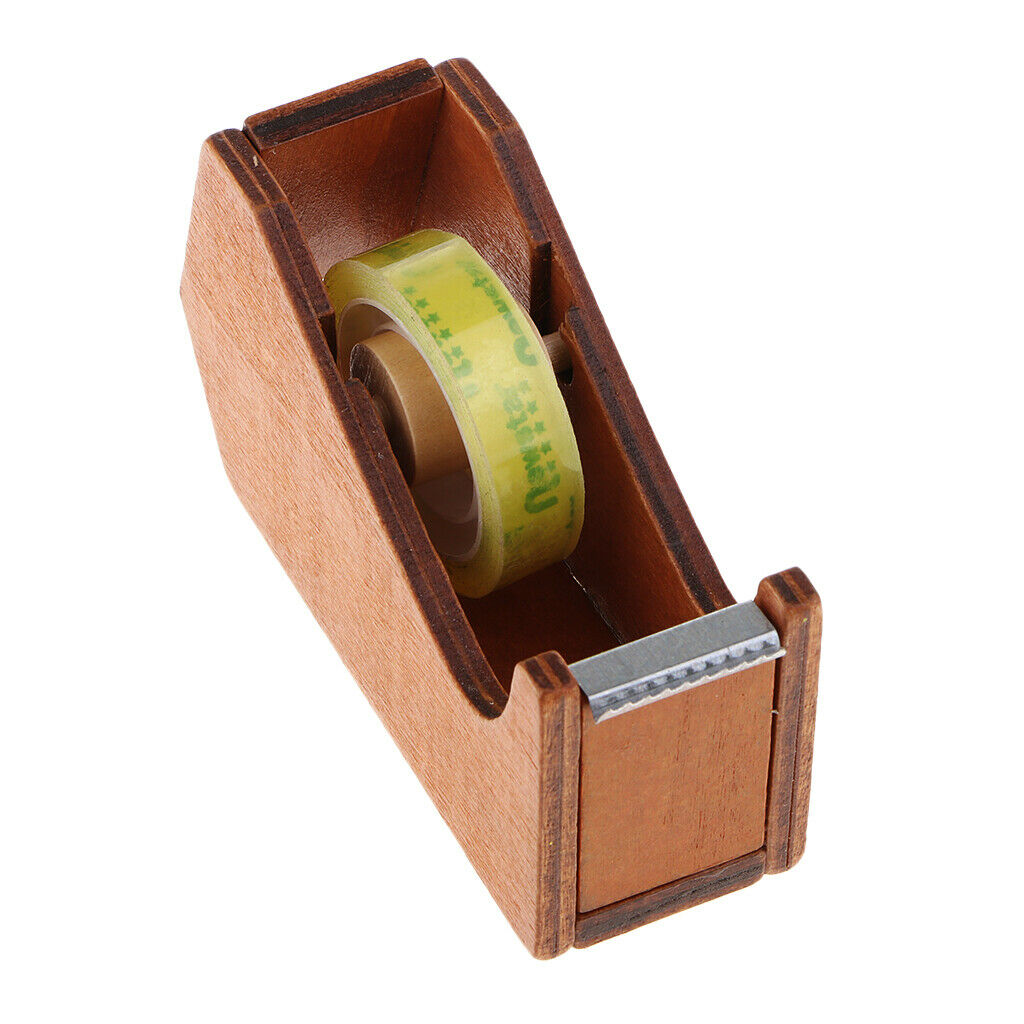 Wooden Tape Dispenser - Cute Animal Office Desktop Accessory with Clear Tape