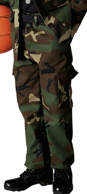 Kids BDU Military Style Uniform Pants Black Cargo Tactical Fatigues Rothco 6794