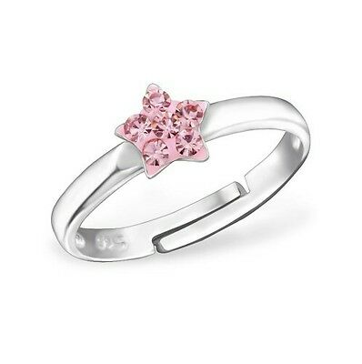 Children's Girls little Star Ring, 925 Sterling Silver, Light Rose, Silk Pouch