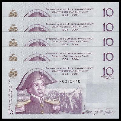 2014 UNC P-266 New 1//10 Bundle Lot 10 PCS Banknotes Haiti 25 Gourdes