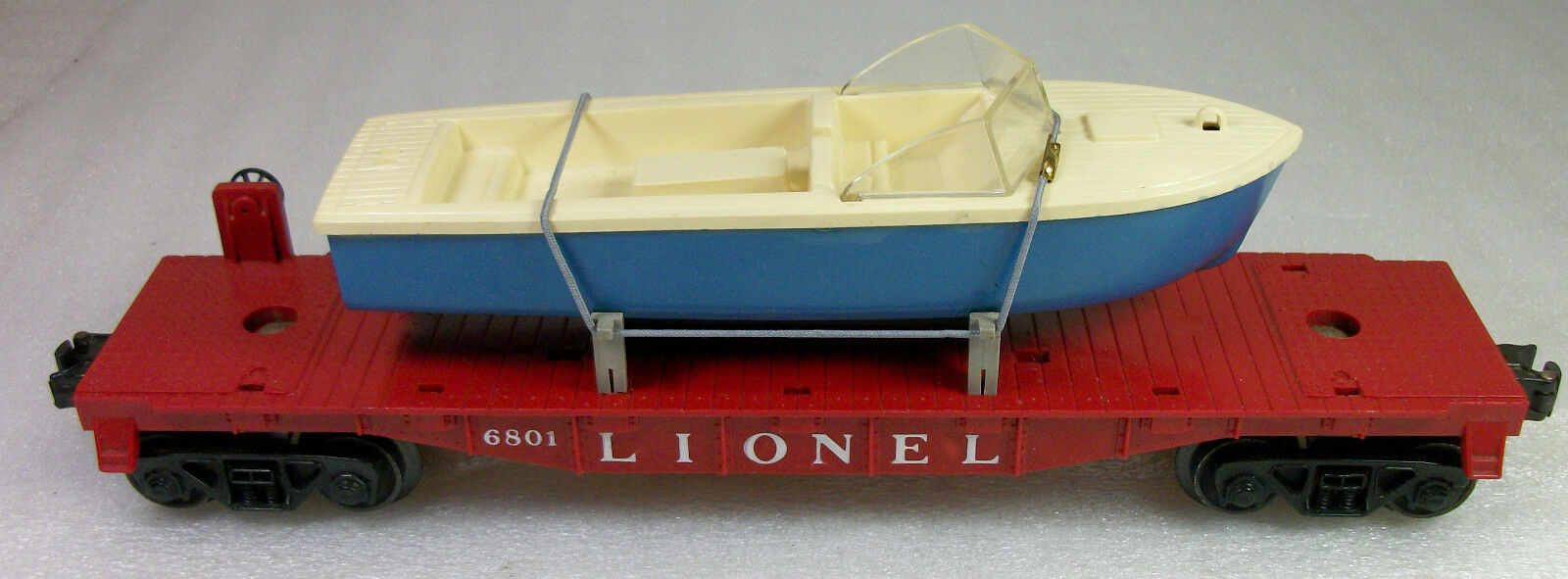 Lionel de la posguerra 6801-75 plana coche con barco Todo Original Excelente +