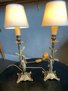 Superbe-et-rare-paire-de-lampes-bronze-dore-statues-Japon-Chine-fin-19eme
