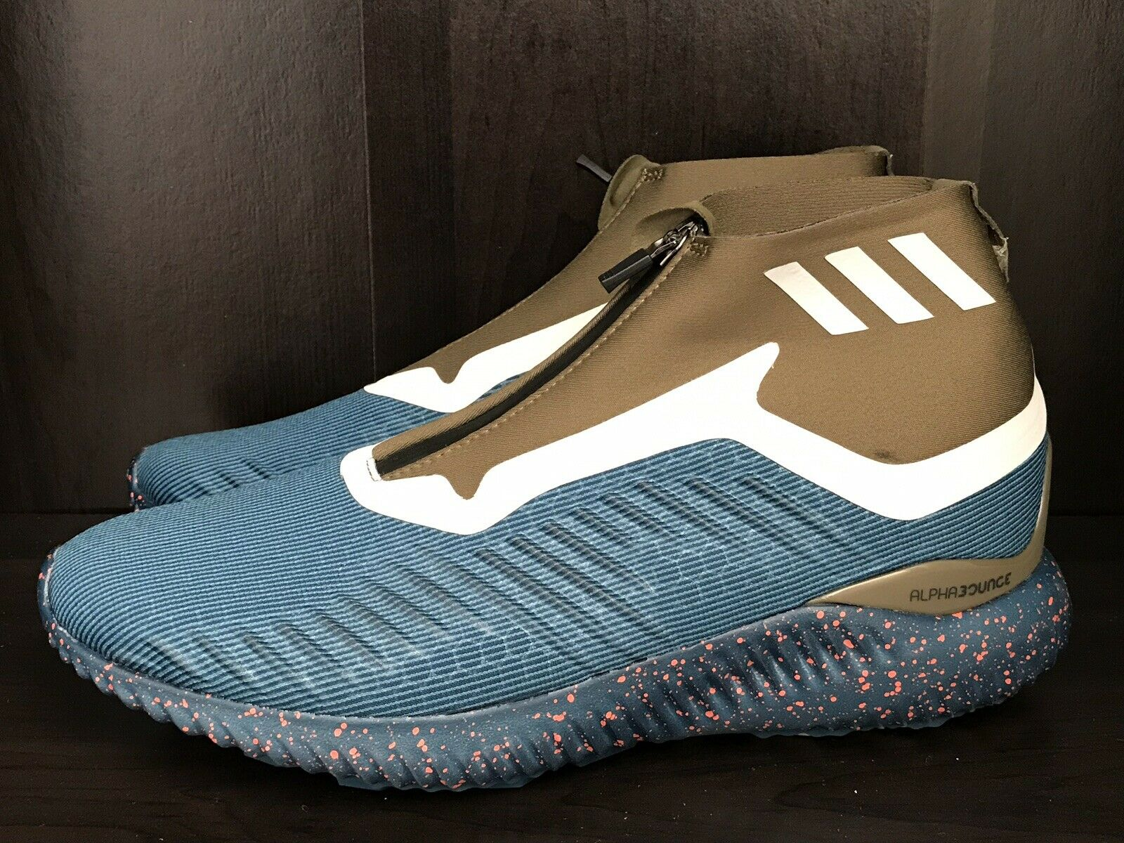 ADIDAS ALPHABOUNCE ZIP HIKING RUNNING TRAIL SHOES BW1387 CONTINENTAL SZ 10