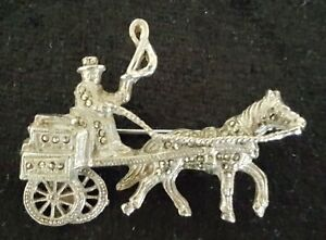 Silver-amp-marcasite-vintage-Art-Deco-antique-horse-amp-carriage-brooch