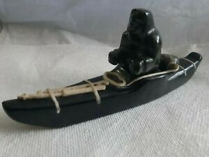 Museum-Quality-Eskimo-Stone-Carving-034-Kayak-Hunter-034-signed-N-Mark-7-039-039-inches