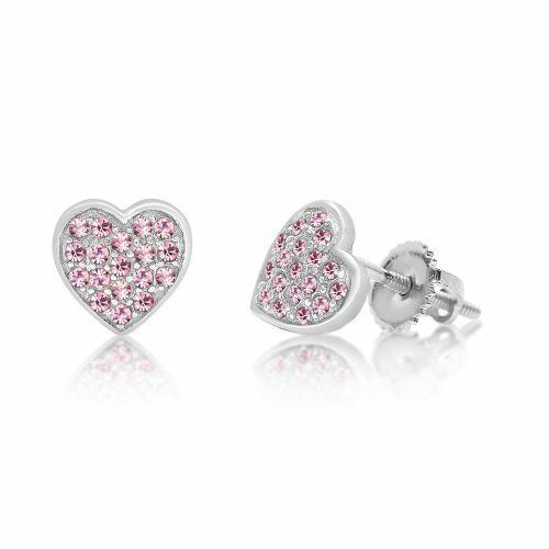 Earring 925 Sterling Silver With White Gold Tone Pink Heart Screwback Children/'s